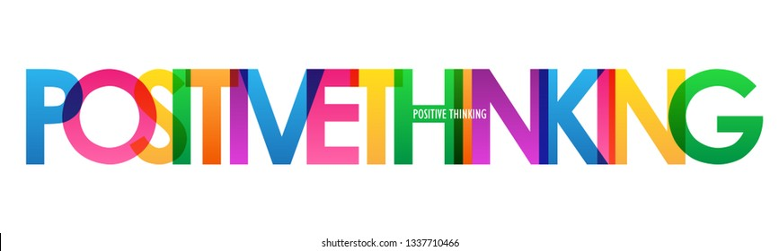 POSITIVE THINKING colorful typography banner