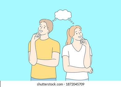 Positive thinking, couple in thoughts, cheerful people concept. Young smiling couple cartoon characters looking aside, touching chin and thinking together vector illustration