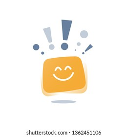 Positive thinking, express emotion, good experience feedback, happy client, service quality, optimism attitude concept, enjoy yourself, empathy vector icon