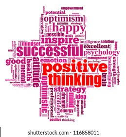 Positive thinking info-text graphics and arrangement concept (word clouds) on white background