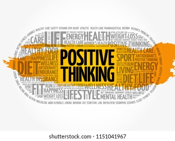 Positive thinking medical pill word cloud, health concept background