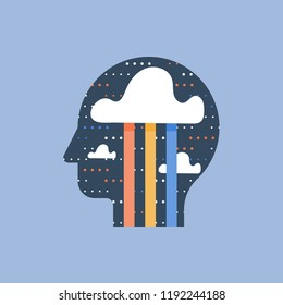 Positive thinking and mindfulness, brainstorm concept, creativity and imagination, mental wellbeing and happiness, good mood, vector icon, flat illustration