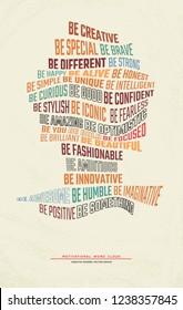 Positive thinking and motivational word cloud in modern typography trendy design. Be creative concept.
