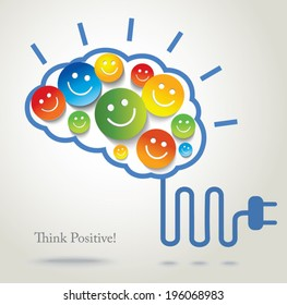 Positive thinking. Success. Concept background. Vector Smileys and emoji.