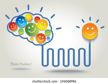 Positive thinking. Success. Concept background with smiley and emoji.