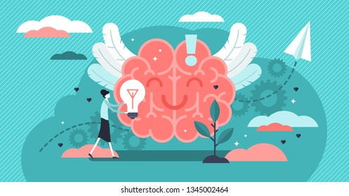 Positive thinking vector illustration. Flat tiny optimistic persons concept. Happy thought power to health improvement. Symbolic creative strategy for success, enjoy feeling and dream control strategy