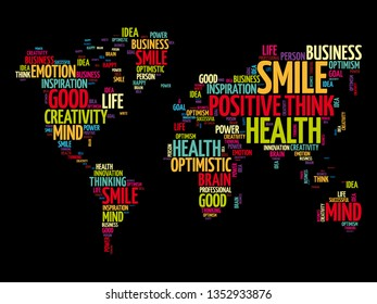 Positive thinking word cloud in shape of world map, creative concept background