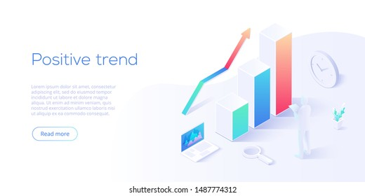 Positive trend isometric vector illustration. Business analysis for company marketing solutions or financial performance. Budget accounting or statistics concept for increasing income.