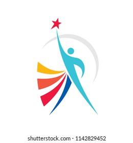 Positive - vector logo template concept illustration. Abstract human character silhouette with star shape. Vibrant color symbol. Progress development success. Design element.