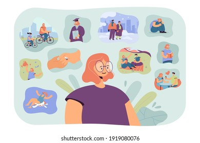 Positive woman remembering happy scenes of her life. Person thinking over her graduation, engagement, win, vacation and other important life memories from past. For psychology, personality concept