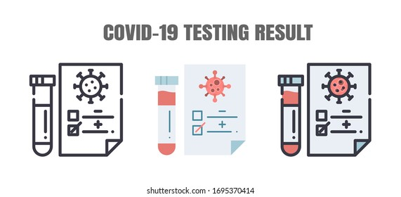 Positve Testing Result of Covid-19 Concept. The Coronavirus Disease 2019 Infection Test. Line Outlin Flat and Filled Icons Set. Editable Stroke.