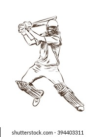 Poss of hitting ball in Cricket game. Abstract sketch vector.