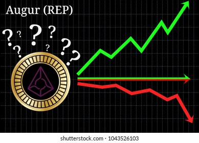 Possible graphs of forecast Augur (REP) cryptocurrency - up, down or horizontally. Augur (REP) chart.
