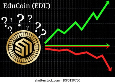 Possible graphs of forecast EduCoin (EDU) - up, down or horizontally. EduCoin (EDU) chart.
