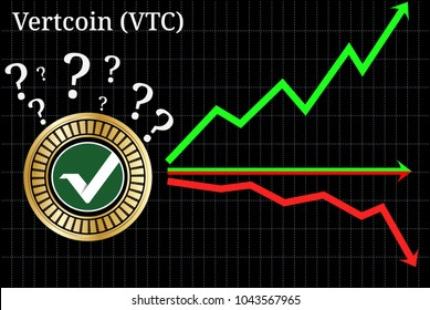 Possible graphs of forecast Vertcoin (VTC) cryptocurrency - up, down or horizontally. Vertcoin (VTC) chart.