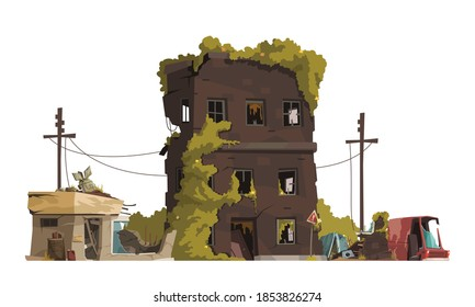 Post apocalypse city cartoon vector illustration of ragged line of electricity transmission and abandoned living house with broken windows