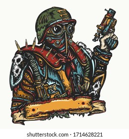 Post apocalypse. Futuristic warrior with weapon in hand. Nuclear war human. Dark crime future. Tattoo, print design. Soldier in gas mask. Doomsday, survival people. Post apocalyptic future. Game art