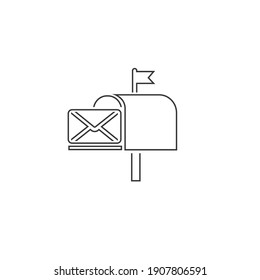 Post box line icon isolated vector in modern flat style