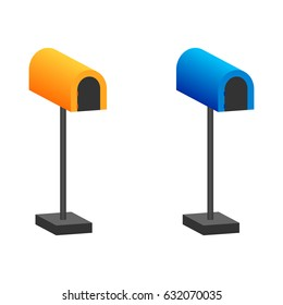 Post box vector illustration. Two color. Isolated. White background.