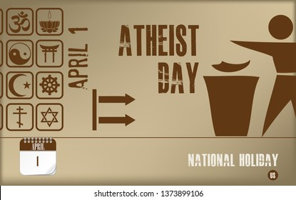 Post card Atheist day. National holiday in the United States, a holiday associated with the denial of faith in God.