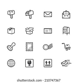post element vector black icon set on white background