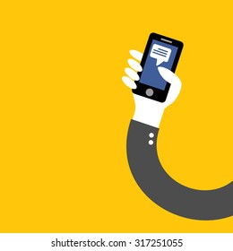 post facebook application phone in hand of businessman on yellow background vector