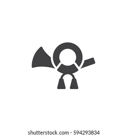 Post horn icon vector, filled flat sign, solid pictogram isolated on white. Symbol, logo illustration. Pixel perfect