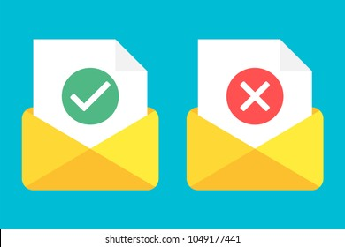 Post icon. Letter. Envelope with document and round green check mark icon and red check mark icon . Successful e-mail delivery, email delivery confirmation, successful verification concepts