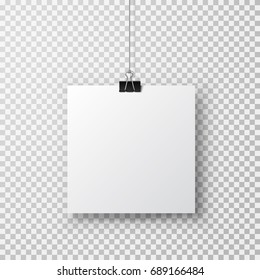 Post note with clip isolated on transparent background. Metal blinder attach with shadow on paper sheet. Vector silver paperclip on white office memo for advertising design
