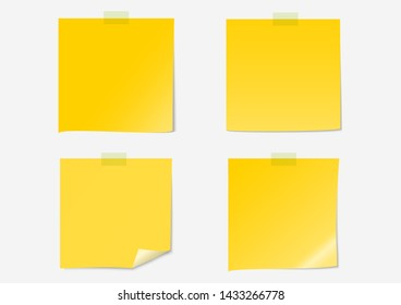 Post note label paper dark yellow set on gray background with shadow and sticky tape- Vector Illustration
