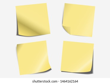Post note label paper fold set on board with shadow- Vector Illustration