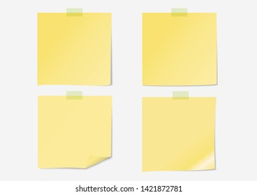 Post note or label paper set on gray background with shadow and sticky tape, illustration - Vector