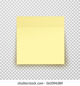 Post note paper sheet or sticky sticker with shadow isolated on transparent background. Vector yellow office memo template.
