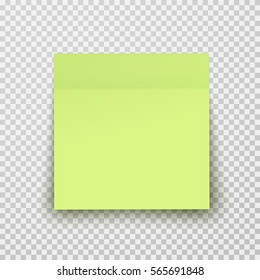 Post note paper sheet or sticky sticker with shadow isolated on a transparent background. Vector green office memo template.