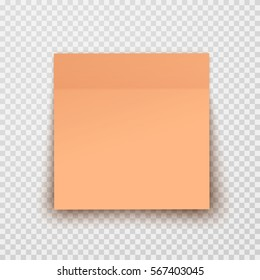 Post note paper sheet or sticky sticker with shadow isolated on transparent background. Vector orange office memo template.