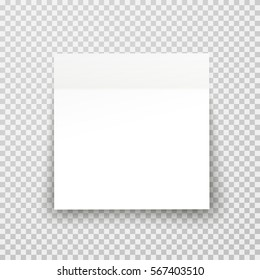 Post note paper sheet or sticky sticker with shadow isolated on transparent background. Vector white office memo template.