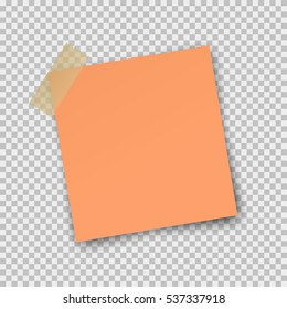 Post note paper sticker isolated on transparent background. Vector orange office memo pin on translucent sticky tape with shadow.