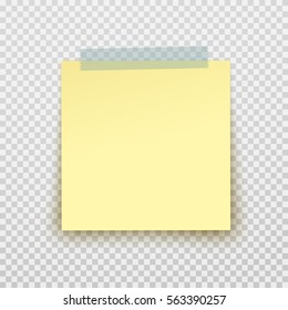 Post note paper sticker isolated on transparent background. Vector yellow office memo pin on translucent sticky tape with shadow.
