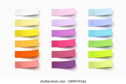 Post note sticker set isolated on white background. Paper sticky tape with shadow. Vector office color post note sticks for advertising design.