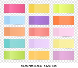 Post note sticker set isolated on transparent background. Paper sticky tape with shadow. Office color post sticks for advertising design. Vector illustration