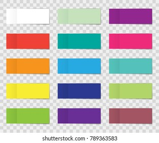 Post note sticker set isolated on transparent background. Paper sticky tape with shadow. Vector office color post note sticks for advertising design
