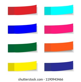 Post note stickers isolated on white background. Vector color paper sticky tape set with shadow template.