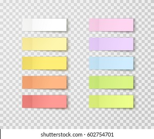 Post note stickers isolated on transparent background. Vector post paper sticky tape set with shadow template.