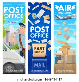 Post office and air mail delivery vector design of postal service. Postman or courier with letters, bag and mailbox, parcel boxes, packages and envelopes with postage stamps, truck, planes, pigeons