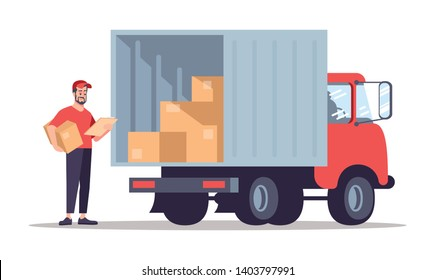Post office courier flat vector illustration. Delivery man checking address isolated cartoon character on white background. Moving house, relocation service worker standing near truck, van