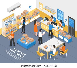 Post office interior with forwarding agents recipients and employees selling mailing supplies and receiving parcels isometric vector illustration