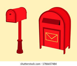 Post office and mail box for putting letters in front of the house card