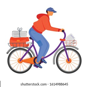 Post office male worker flat color vector illustration. Young man distributes news. Post service bike delivery. Newspaper carrier. Paperboy on bicycle isolated cartoon character on white back