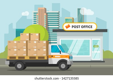 Post office on city street and cargo truck loaded parcel boxes vector illustration, flat cartoon postoffice storage building and delivery car, transportation or delivery service