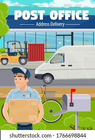 Post office, postman delivery and shipping service. Mailman driving a van, transporting container with forklift, postman putting parcel to mailbox. Delivery, postal logistics service vector